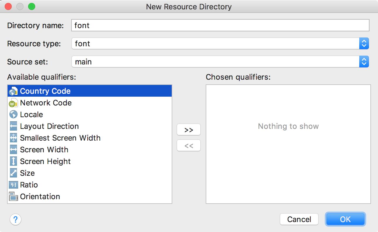 Menambahkan direktori resource font