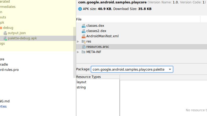APK 分析器的屏幕截图,图中正在检查已编译资源文件的内容。