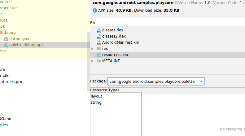 APK 分析器的屏幕截图,检查已编译资源文件的内容。