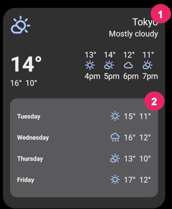 Widget showing radii of the widget background and views inside the widget