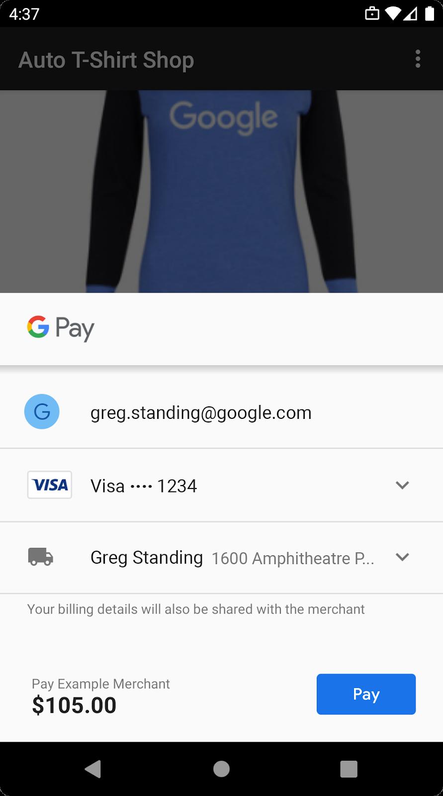 使用 Google Pay 销售实体商品或服务