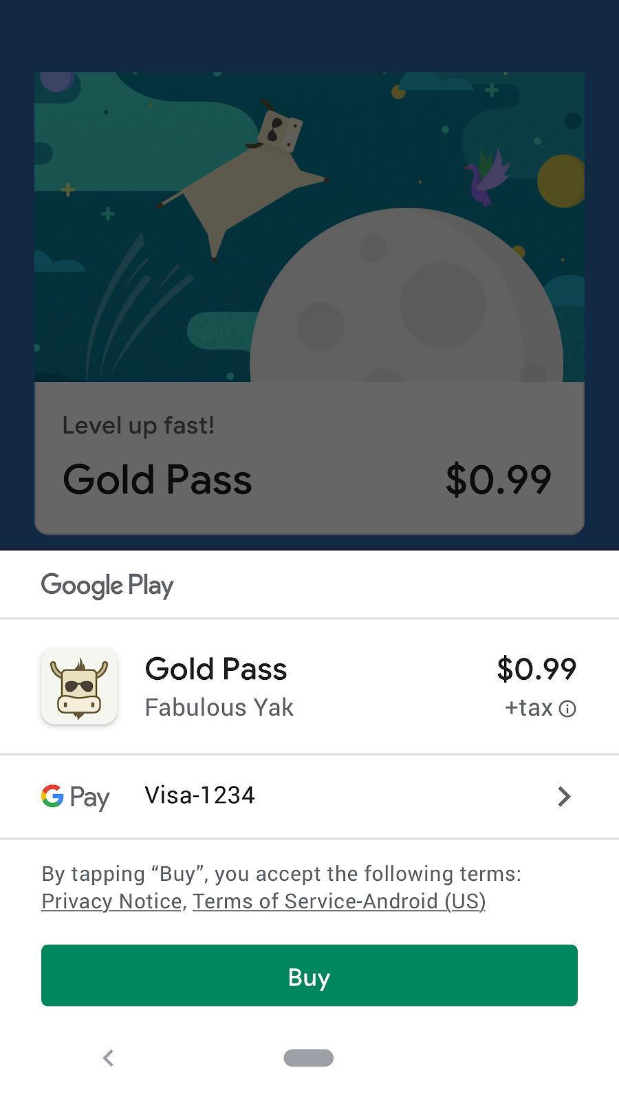 usar o sistema de faturamento do Google Play para vender produtos, softwares ou serviços digitais