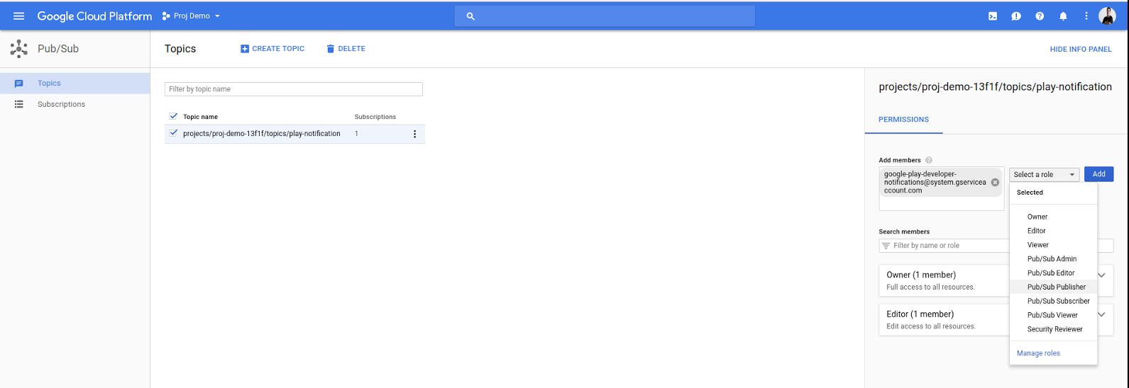 将 Google Play 服务帐号添加为 Pub/Sub 发布商