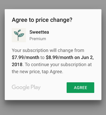 通知用户订阅价格变动的常规对话框