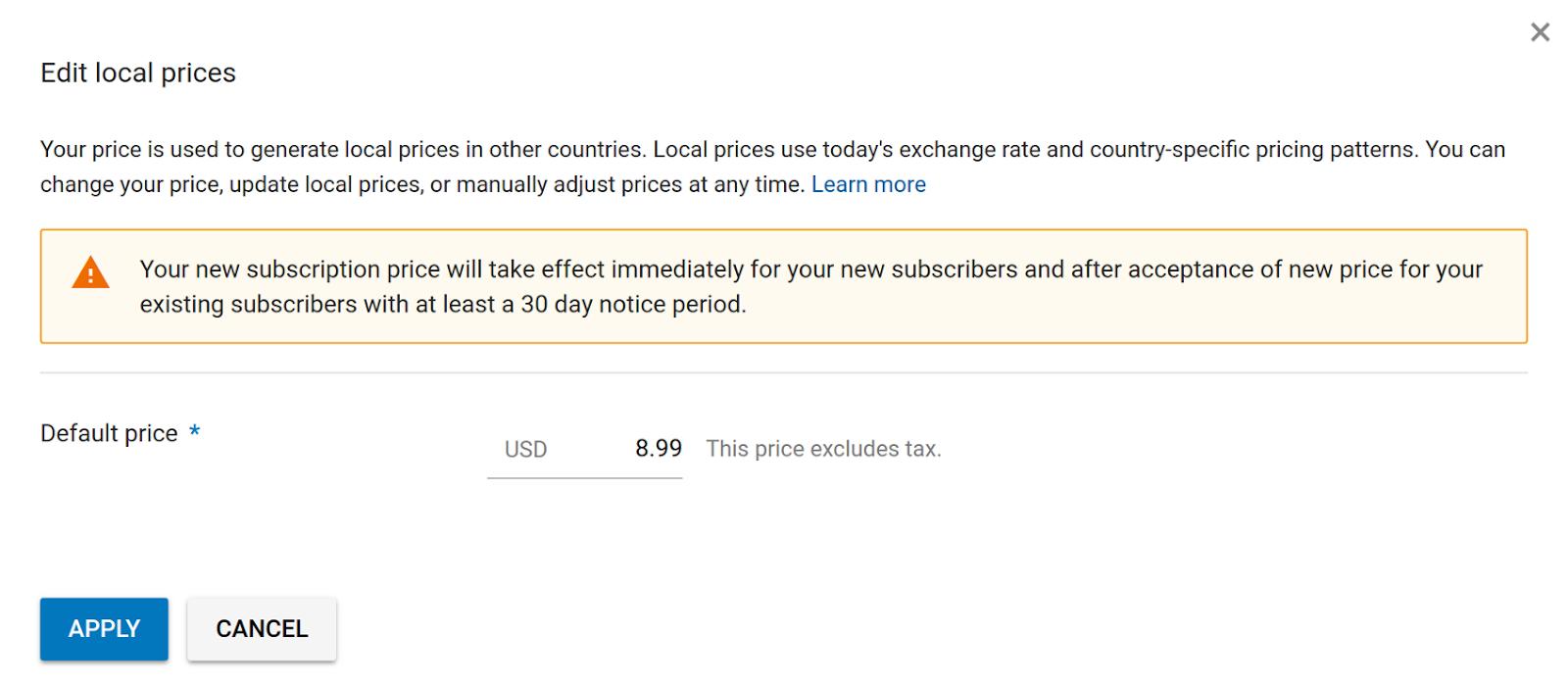 当您修改订阅价格时,系统会显示一条警告