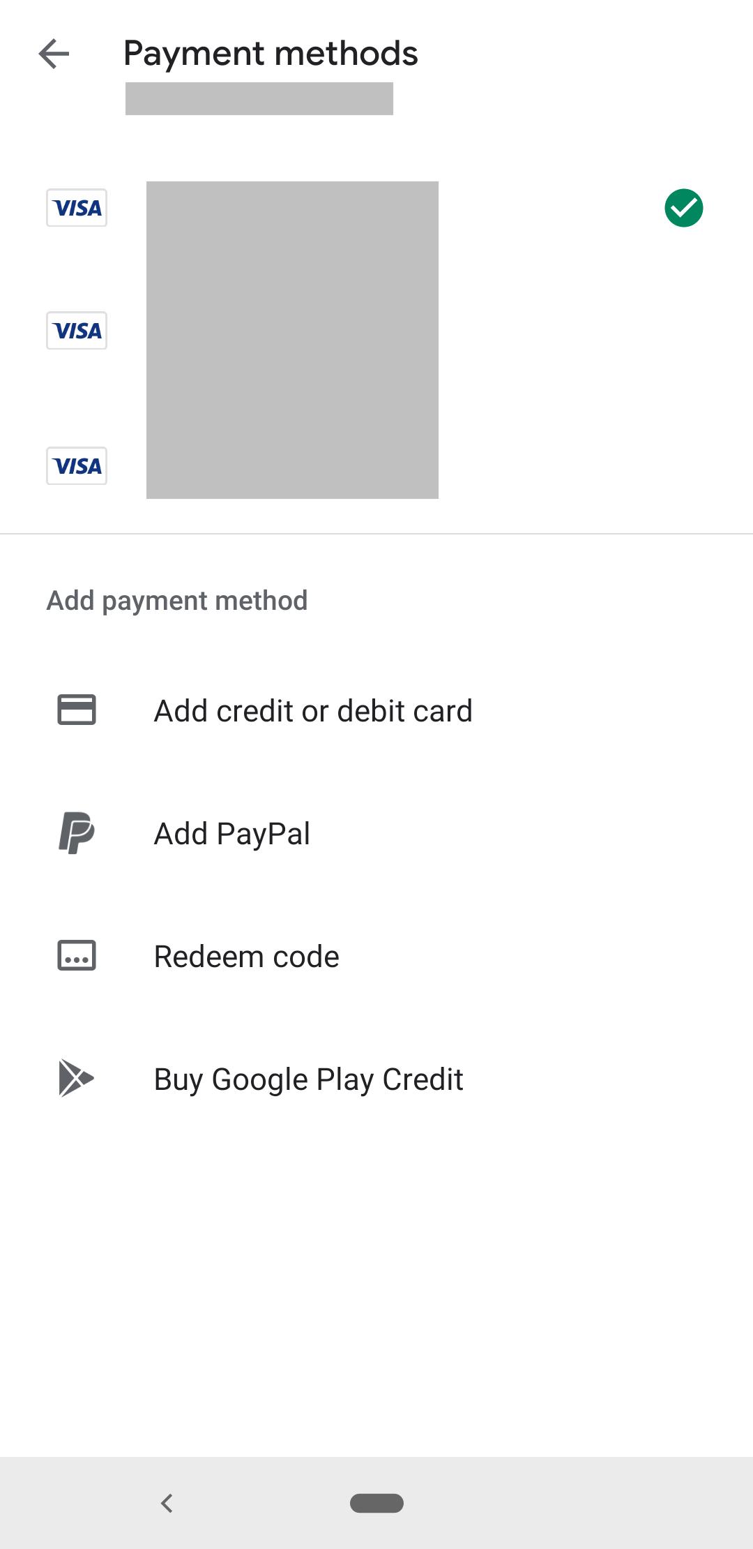 layar yang mencantumkan metode pembayaran untuk pembelian dalam aplikasi