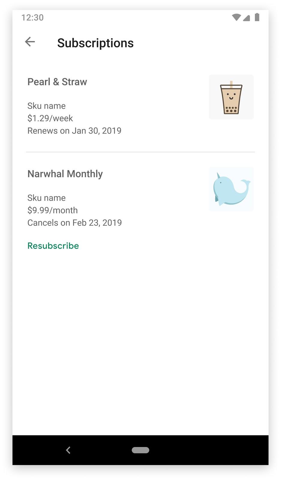 解約済みの定期購入が [再度定期購入] ボタンとともに表示された Google Play ストア アプリの [定期購入] セクション