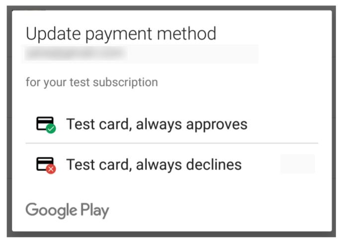 许可测试人员可以使用测试付款方式