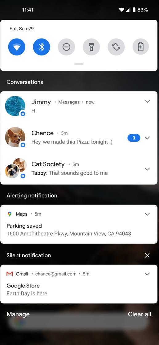 El espacio de conversaciones es un área de notificaciones exclusiva para conversaciones entre personas en tiempo real.