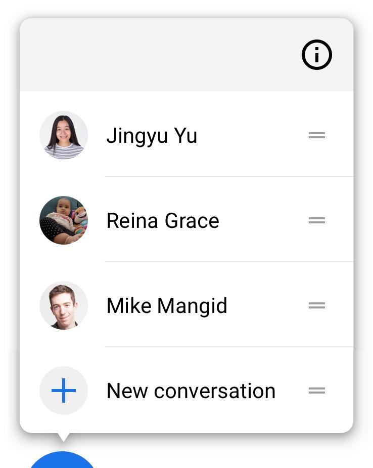 Ao manter uma conversa pressionada, será aberto um menu de ações relacionadas à conversa.