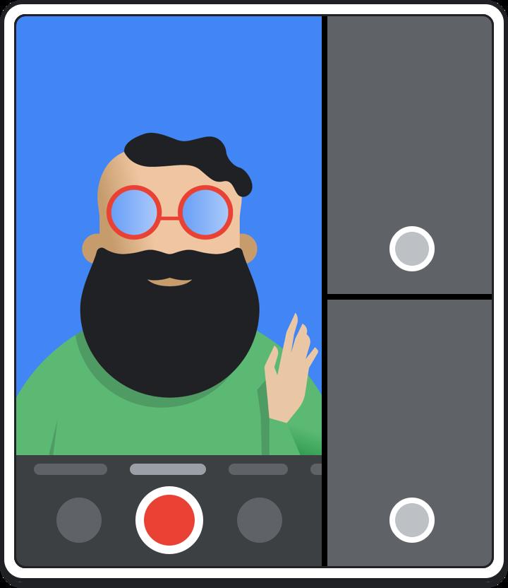 Kamera dalam mode multi-aplikasi.