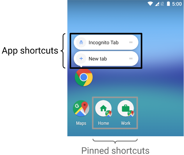 App shortcuts appear in a list next to an app's main      launcher icon. Pinned shortcuts appear as separate icons on the      launcher.