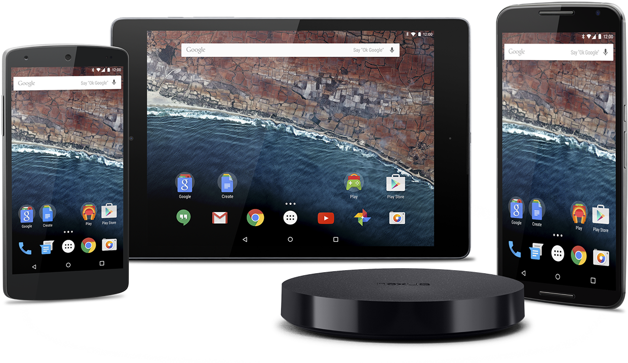 Assorted display of devices including a tablet, mobile phones, and a speaker showcasing Android 6.0