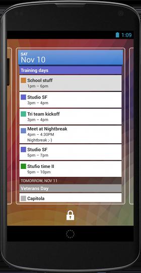カレンダーのロック画面ウィジェット