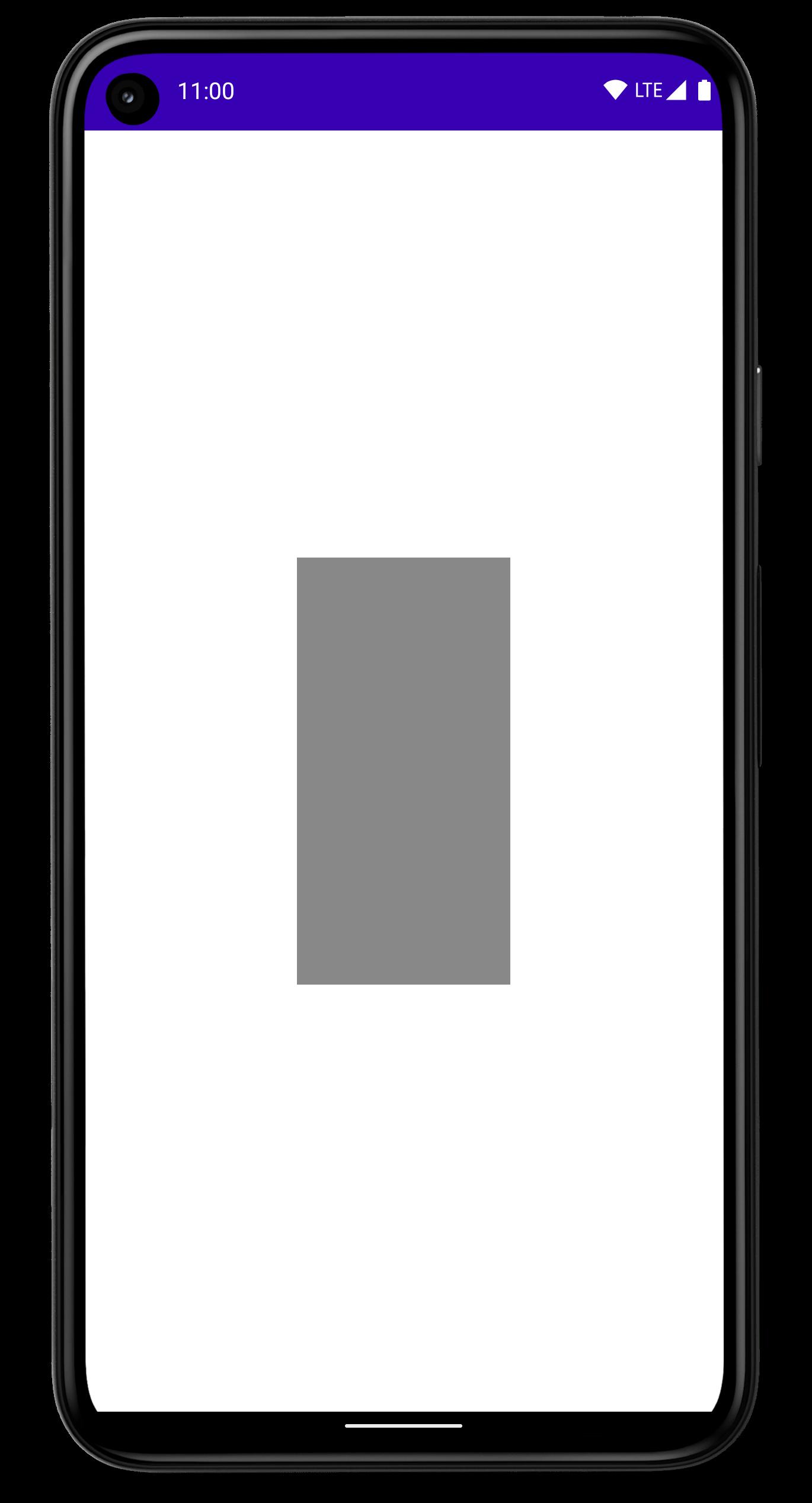 화면 중앙에 채워진 직사각형이 있는 휴대전화
