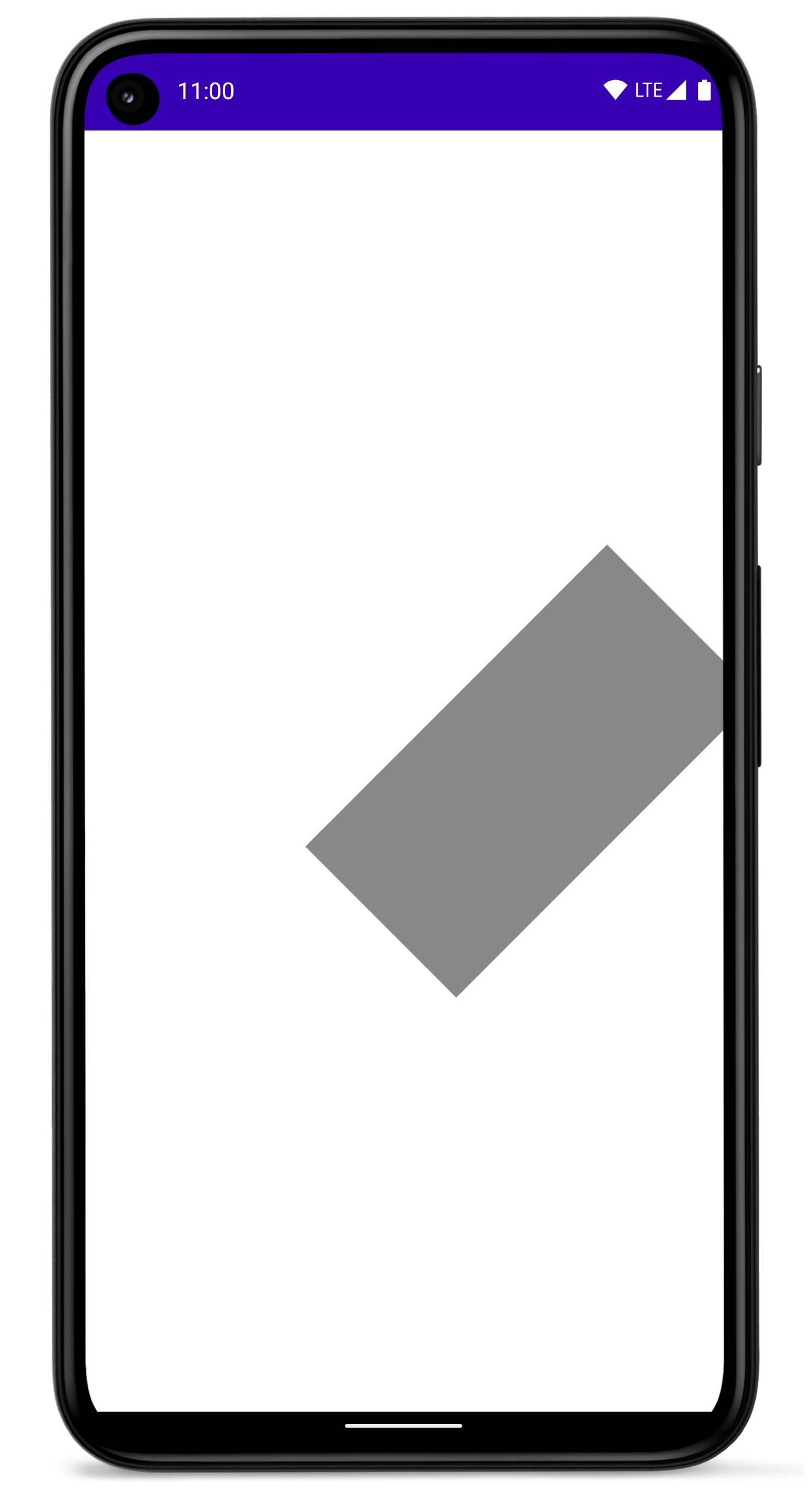 화면의 측면으로 이동한 회전된 직사각형이 있는 휴대전화