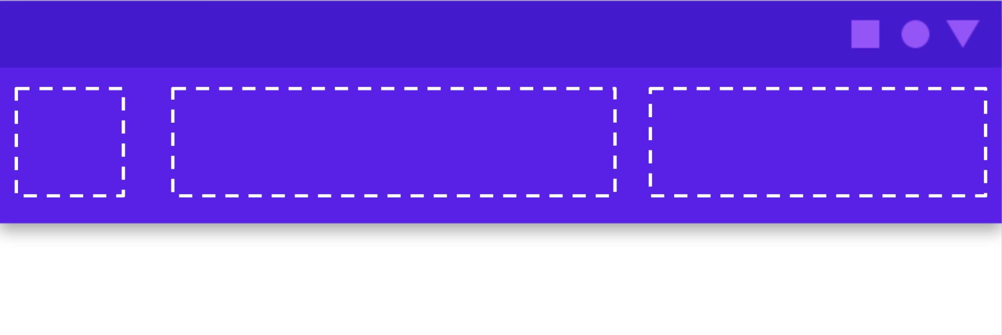 UI 要素を追加できるアプリバーのスロットを示しています