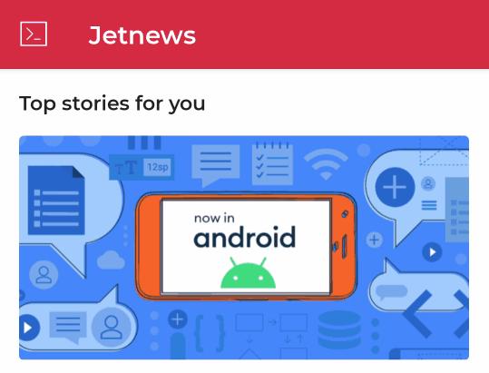 Contoh aplikasi JetNews, yang menggunakan Scaffold untuk memosisikan beberapa elemen