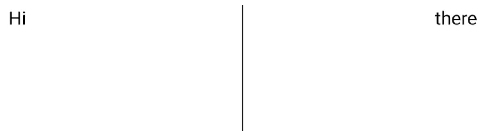 Dua elemen teks berdampingan, dengan pemisah di antara keduanya, tetapi pemisah membentang di bawah bagian bawah teks