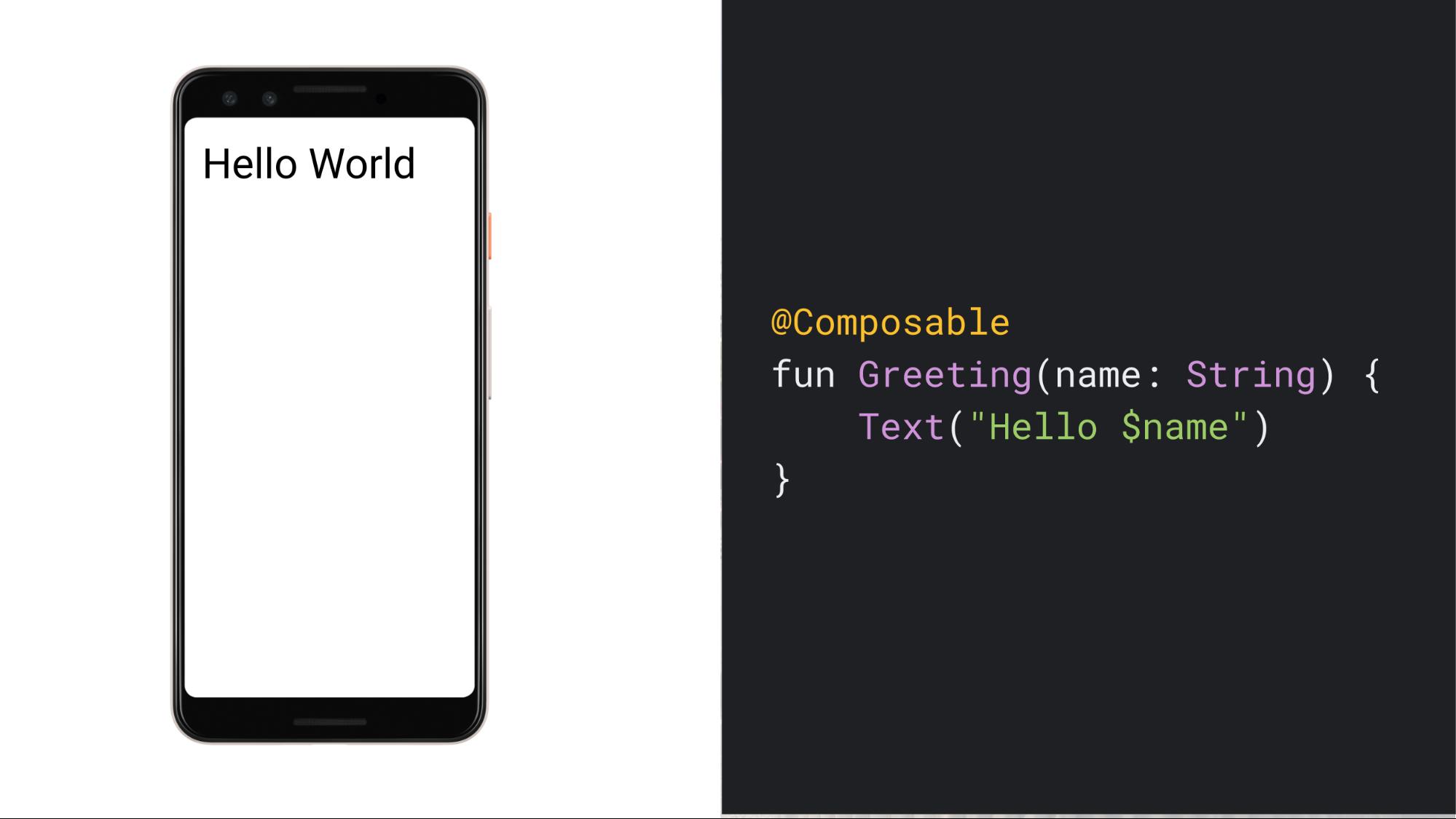 テキスト「Hello World」を表示するスマートフォンのスクリーンショットと、その UI を生成するシンプルでコンポーズ可能な関数のコード