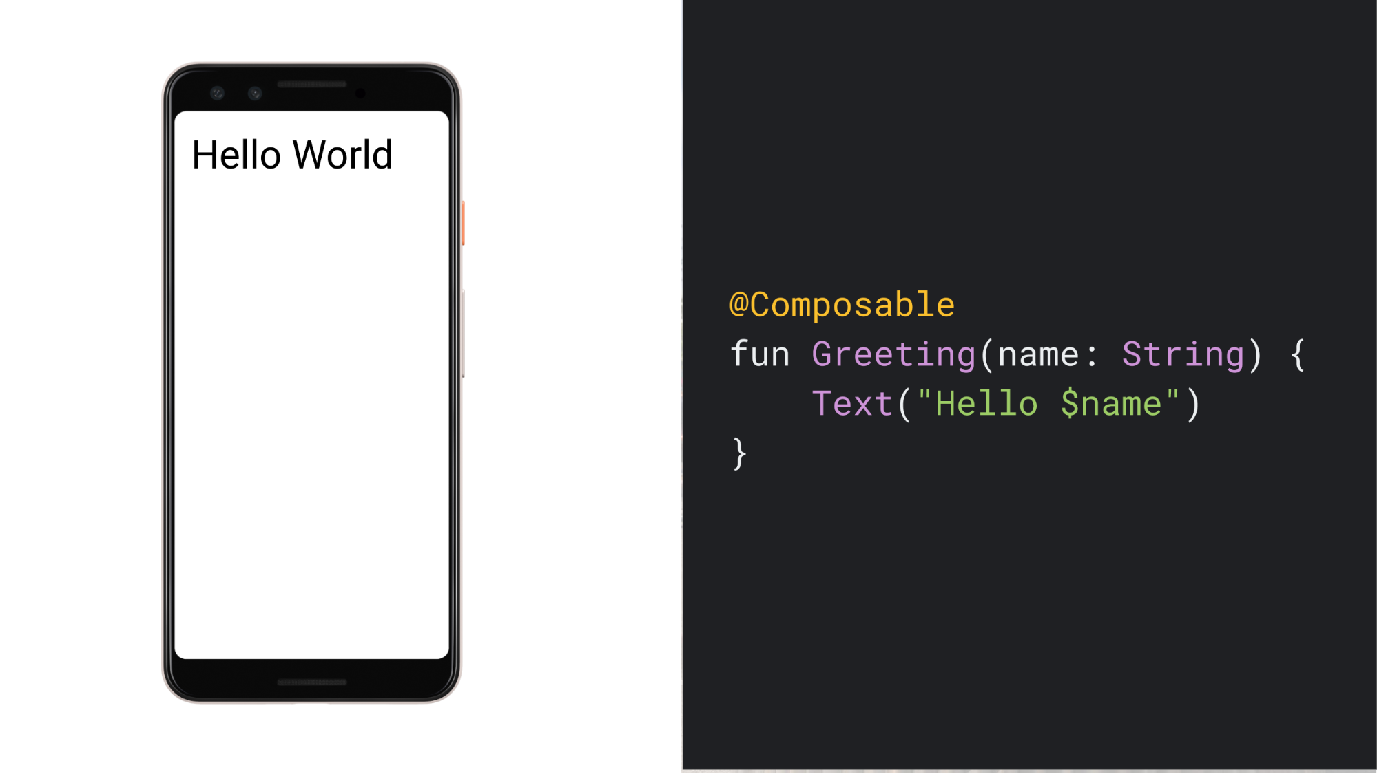 """显示文本""""Hello World""""的手机的屏幕截图,以及用于生成该界面的简单可组合函数的代码"""