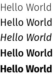여러 글꼴 가중치 및 스타일로 표시된 'Hello World' 문구