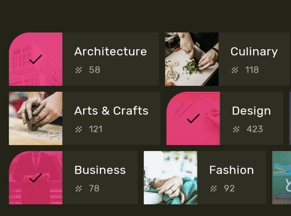 Screenshot aplikasi yang menggunakan bentuk Material untuk menyampaikan status elemen di dalamnya