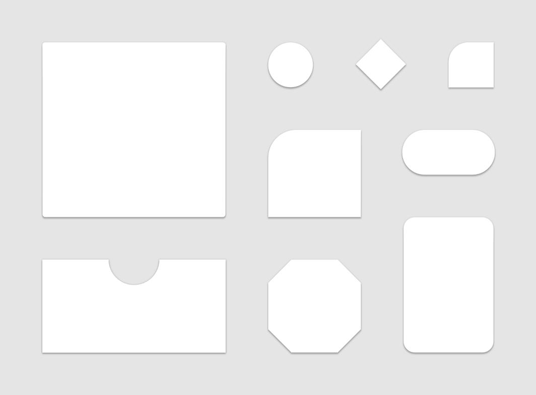 显示各种 Material Design 形状