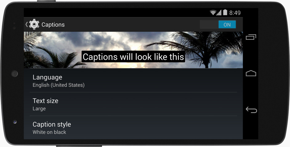 Mobile in landscape orientation displaying captions within system-wide captions preferences