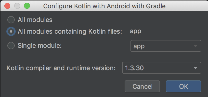 Kotlin 코드가 포함된 모든 모듈에 Kotlin 구성 선택