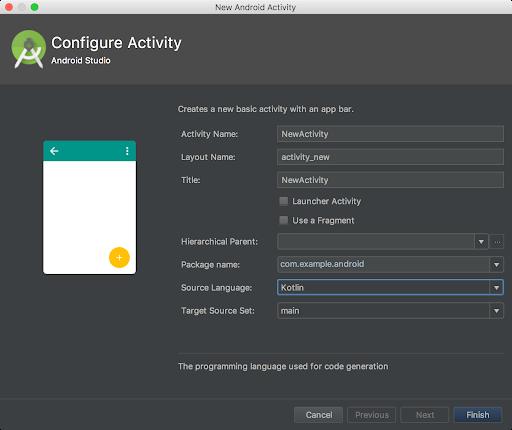 可让您选择 Kotlin 作为源语言的对话框