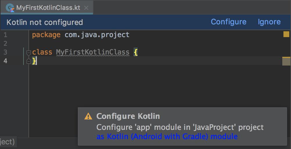 caixa de diálogo de alerta que solicita que você configure Kotlin para o projeto
