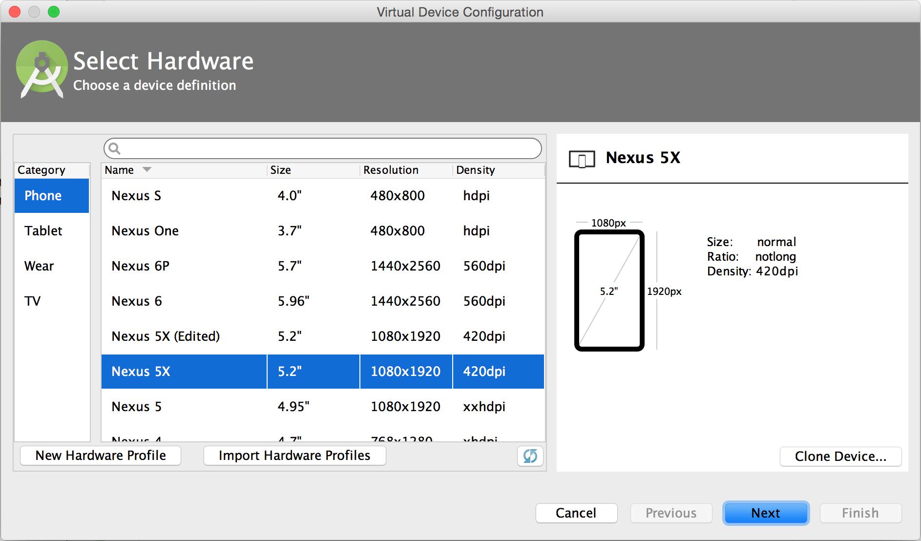 AVD Manager의 하드웨어 프로필 페이지