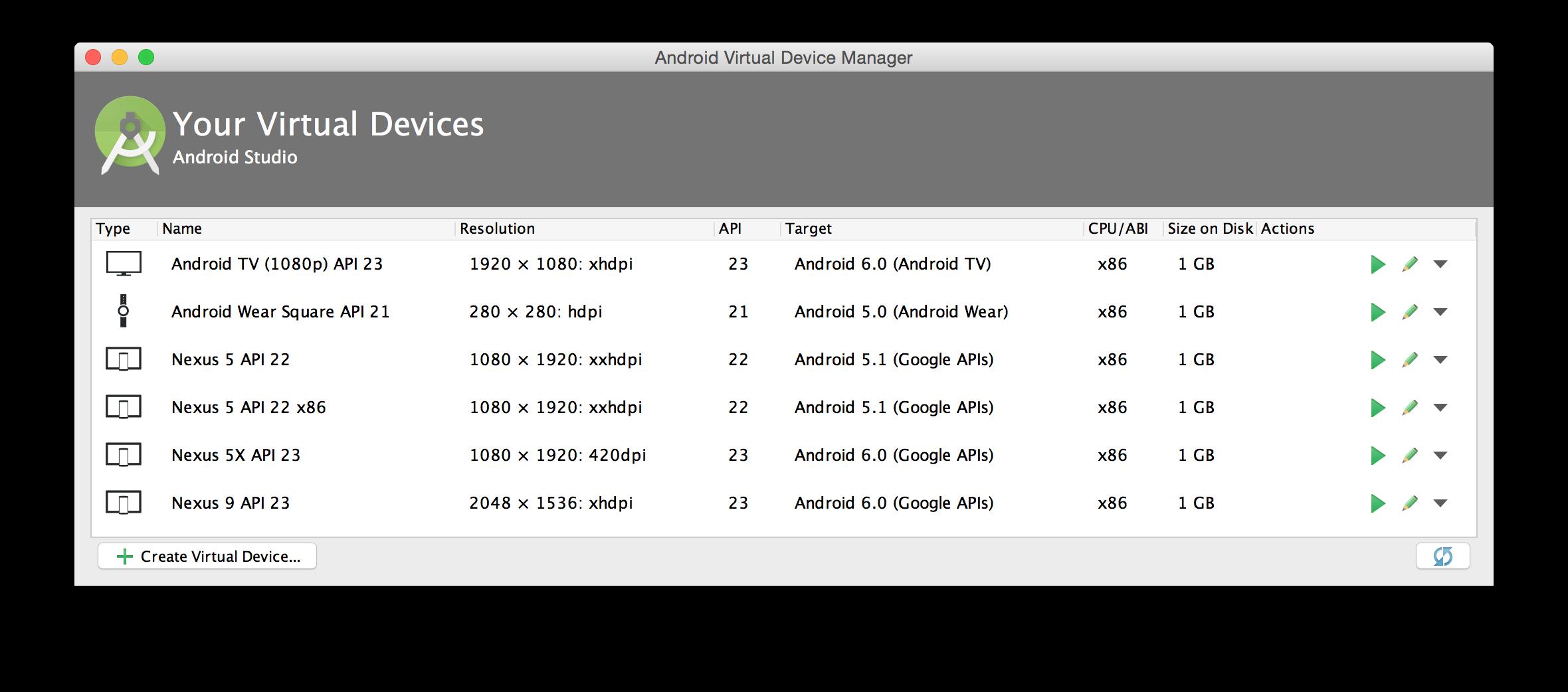 AVD Manager 主窗口AVD Manager 主窗口