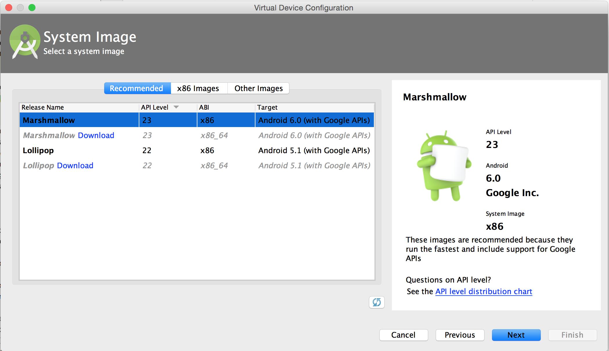 AVD Manager의 시스템 이미지 페이지