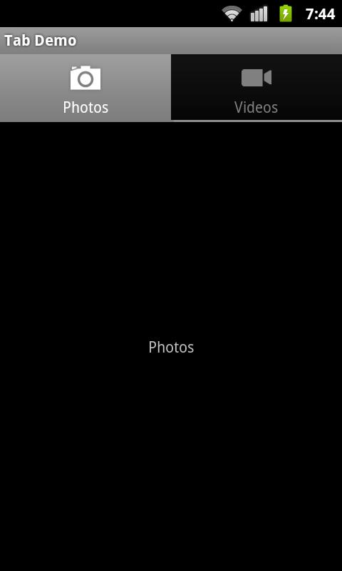在 Android 2.3 设备(使用 TabHelperEclair)上运行的标签页的屏幕截图示例。