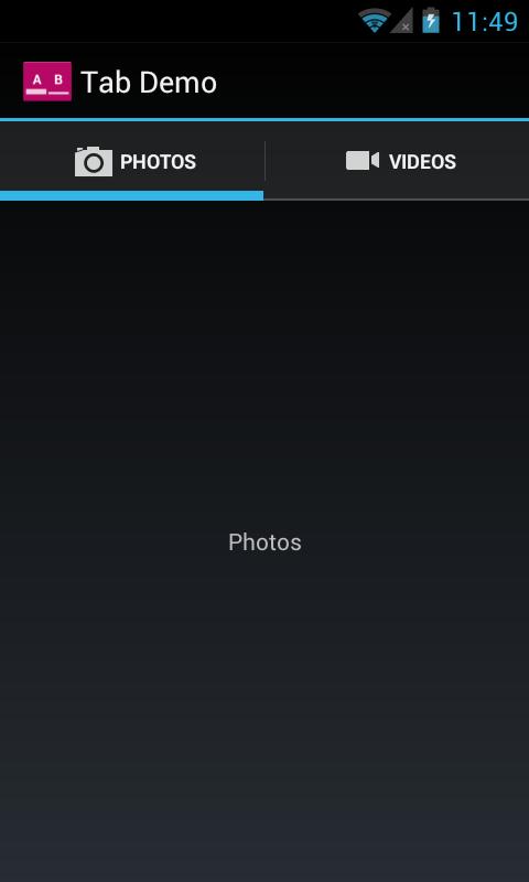 在 Android 4.0 设备(使用 TabHelperHoneycomb)上运行的标签页的屏幕截图示例。