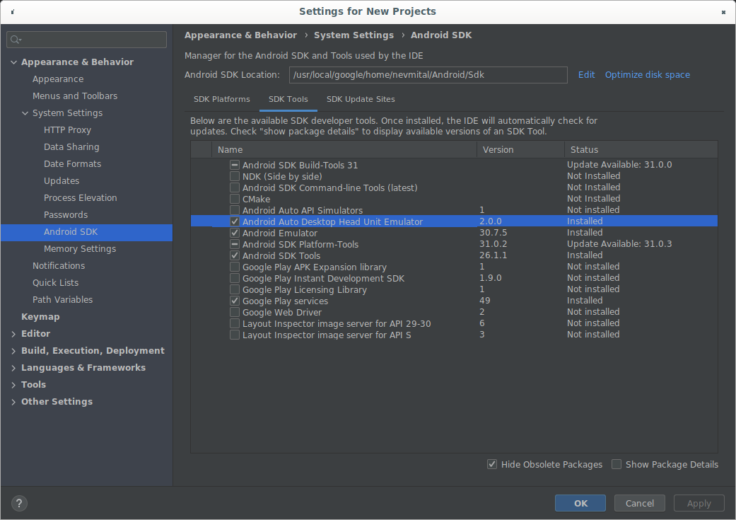 DHU 2.0 rc1을 보여 주는 SDK Manager