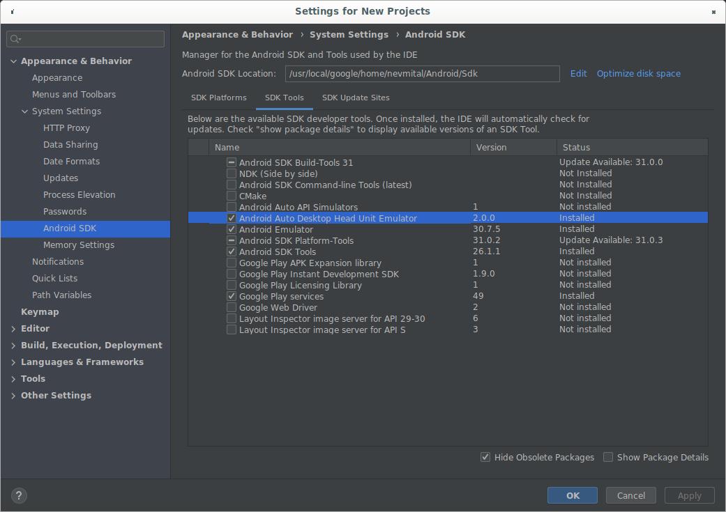 显示 DHU 2.0 rc1 的 SDK 管理器。