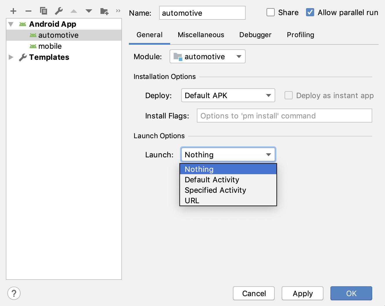 Kotak dialog Run/Debug Configurations.