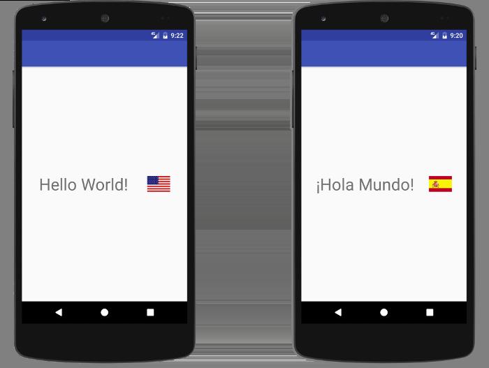 La app muestra un ícono y un texto diferentes en función de la configuración regional actual