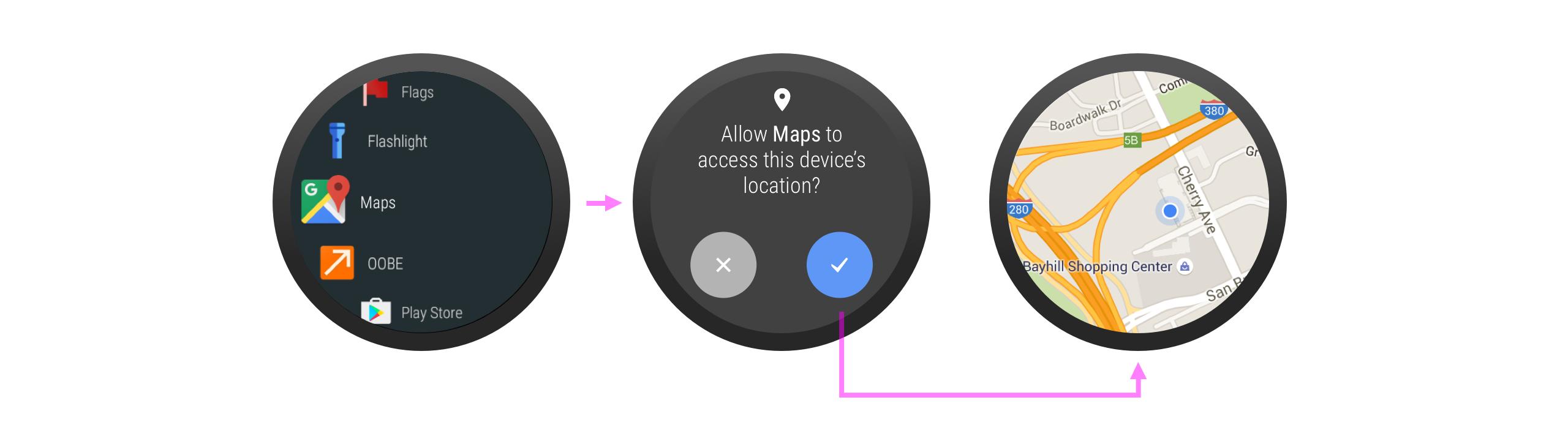 앱을 실행하는 데 권한이 명확히 필요한 경우 실행 즉시 이 권한을 요청할 수 있습니다.