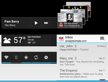 Ejemplos de widgets de apps en Android4.0