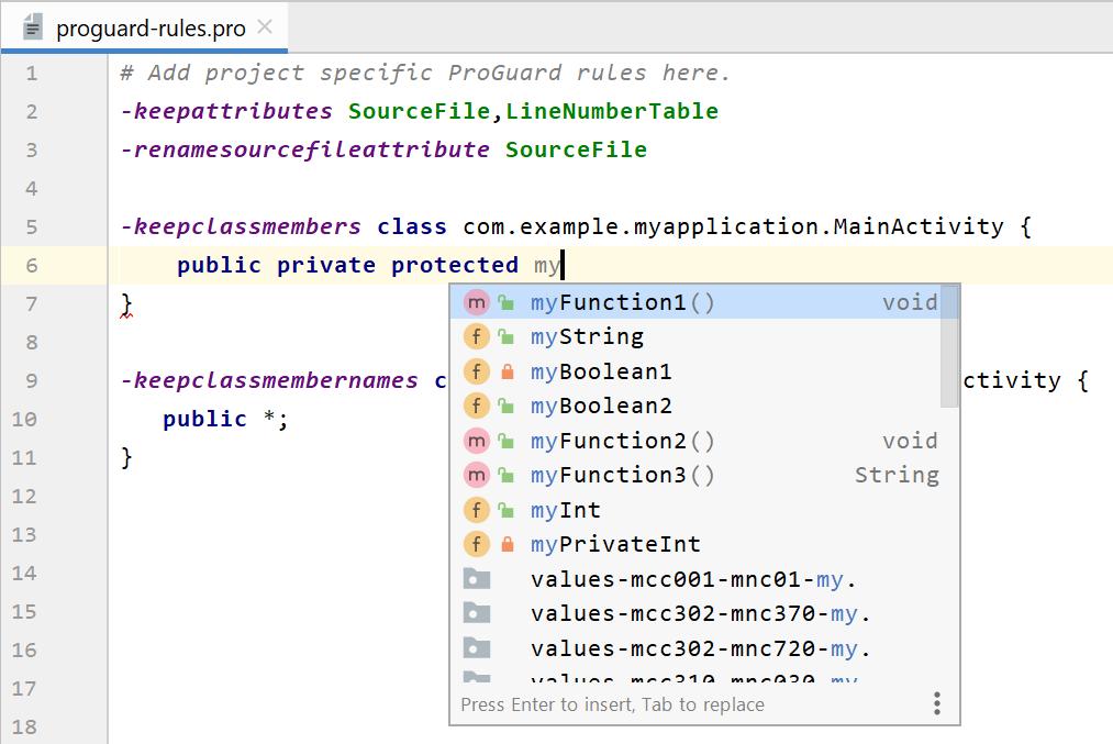 修改 R8 规则文件时使用的智能编辑器功能
