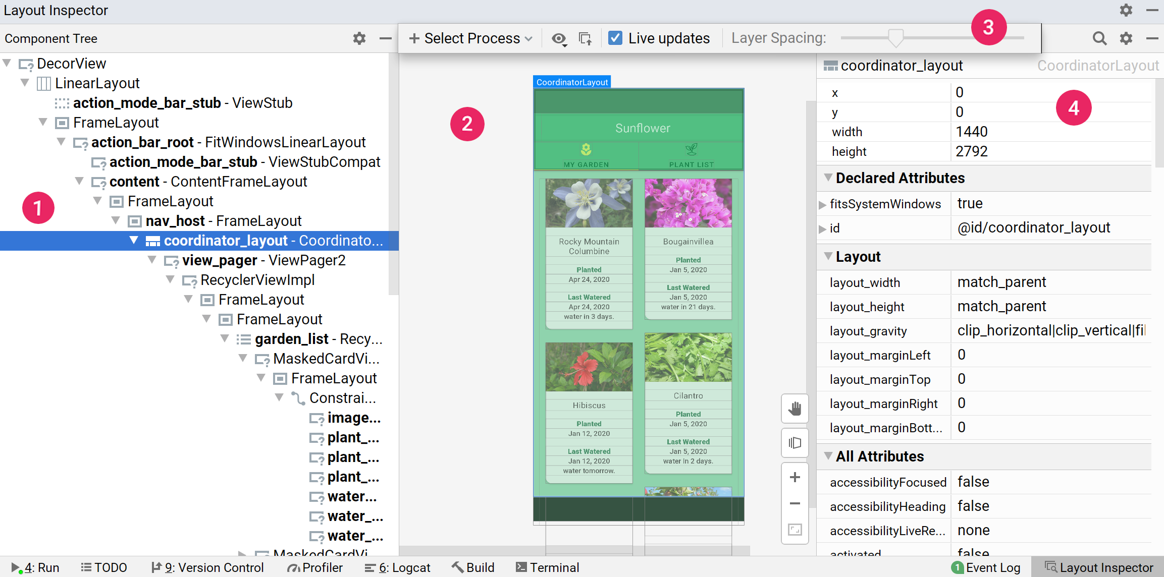 Screenshot Layout Inspector dengan label menunjukkan Component Tree, toolbar Layout Inspector, Layout Display, dan Attributes