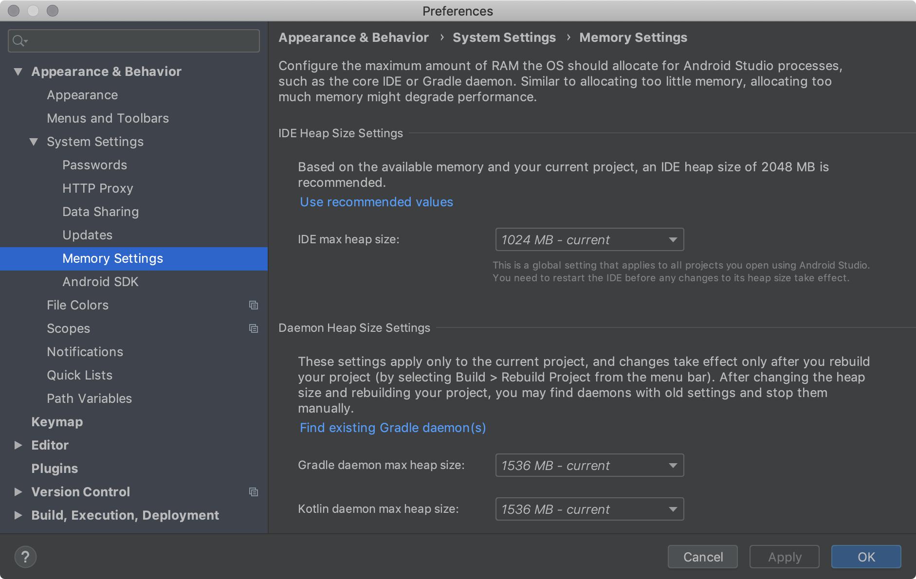 Setelan memori, yang memungkinkan Anda mengonfigurasi jumlah maksimum RAM    untuk proses Android Studio.