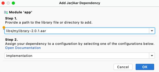 Menambahkan dependensi AAR di Project Structure Dialog