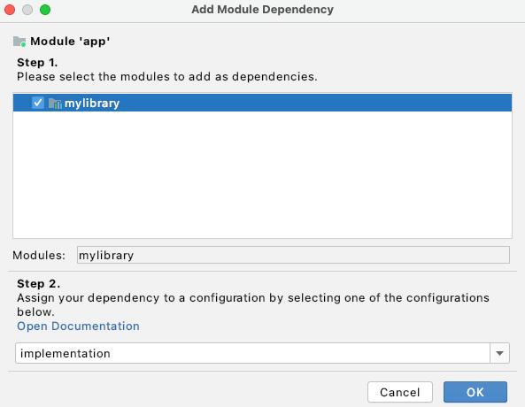 Menambahkan dependensi modul dalam Project Structure Dialog