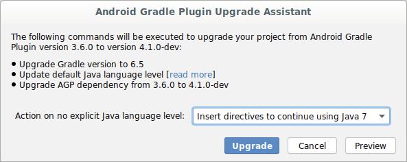 Dialog Asisten Upgrade plugin Android Gradle