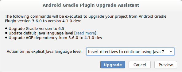 """""""Android Gradle plugin Upgrade Assistant""""对话框"""